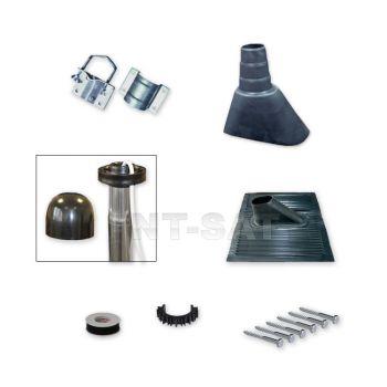 Sat Mast-Montage-Set / Alu-Kunststoffziegel / Mastschelle / Mastkappe/ Schrauben