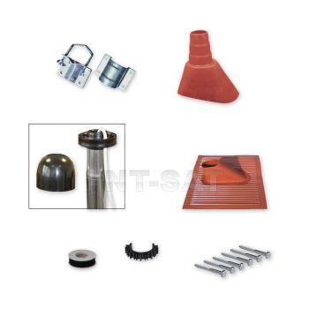 Sat Mast-Montage-Set Alu-Kunststoffziegel / Mastschelle Rot / Mastkappe/ Schrauben