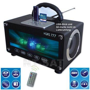 Radio Tragbare USB SD Karten Boombox LED mobile Lautsprecher mit Akku 220V