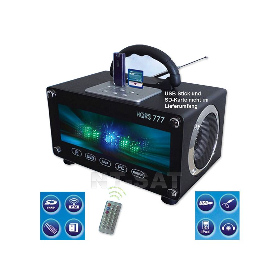 radio tragbare usb sd karten boombox led mobile lautsprecher mit akku 220v. Black Bedroom Furniture Sets. Home Design Ideas