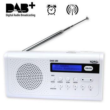 DAB Radio Tragbares DAB+/FM Radio, 10 Senderspeicher, Weckfunktion, Display, Teleskopantenne, weiß