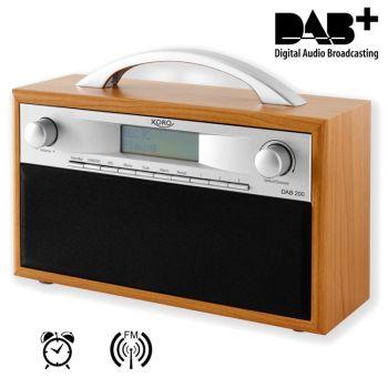 DAB Radio Tragbares DAB+/FM Radio, Holzdesign, 10 Senderspeicher, Weckfunktion, Display, Teleskopantenne