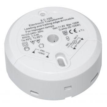 Halogen Trafo Elektronischer Transformator 230V auf 12V, 35W bis 105W Runder Weiss