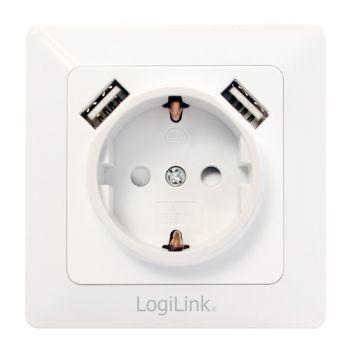 Unterputz-Steckdose, 1x CEE 7/3, 2x USB-A