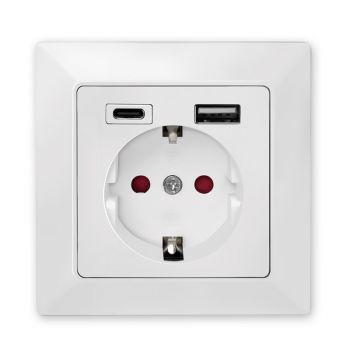 Unterputz-Steckdose, 1x CEE 7/3, 1x USB-A, 1x USB-C