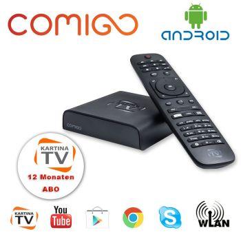 Kartina TV Comigo Quattro IPTV Receiver + 1 Jahr Kartina TV Abo Wi-Fi Russ TV HDMI