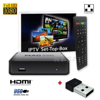 MAG 250 BOX Multimediaplayer Internet TV Box IPTV SET TOP USB HDMI HDTV+ WLAN Stick