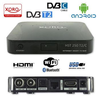Smart TV Box Android IPTV Quad Core Xoro 250 T2/C Web Box 8GB Internet TV mit Cabel Receiver DVB-T2