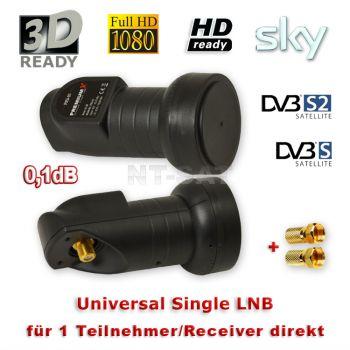 LNB Sat Single PremiumX PXSI-01 0.1dB HDTV FULL HD 3D