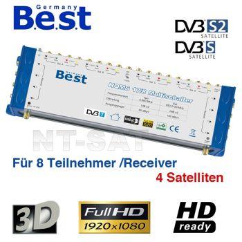 Multischalter 17/8 Best 4 Satelliten Sat Verteiler Multiswitch FullHD HDTV 3D 8x Teilnehmer + 1x Terr