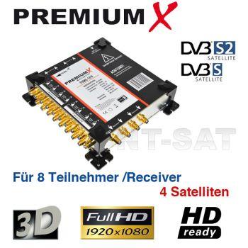 Multischalter 17/8 4 Satelliten Sat Verteiler Multiswitch FullHD HDTV 3D 8x Teilnehmer + 1x Terr