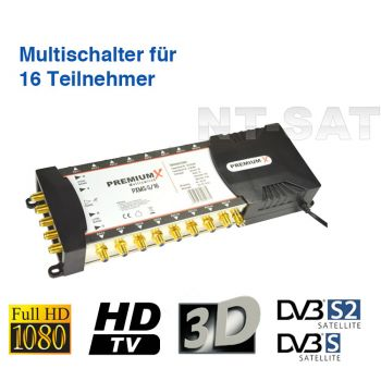 Multischalter PXMS 5/16 Multiswitch Matrix 16 Teilnehmer Switch Sat Digital FULLHD 3D