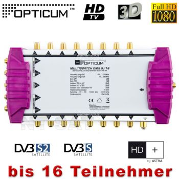 OPTICUM OMS 5/16 Multischalter DIGITAL 16 Teilnehmer Full HD 3D Multiswitch neu