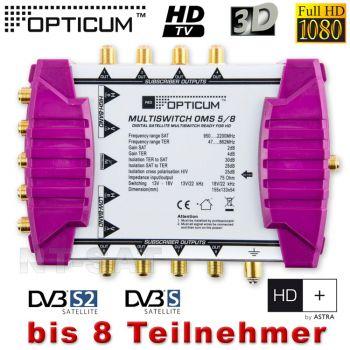 Multischalter Opticum OMS 5/8P Für 8 Teilnehmer 3D Sky HDTV HD+