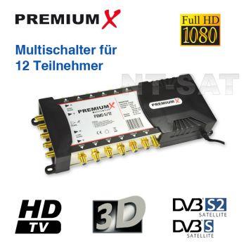 Sat Multischalter 5/12 Multiswitch SAT Verteiler für 2 LNB 12 Teilnehmer HD 3D