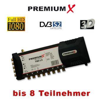 Multischalter PremiumX PXMS-5/8 Multiswitch mit Netzteil für 8 Teilnehmer FullHD HDTV 3D