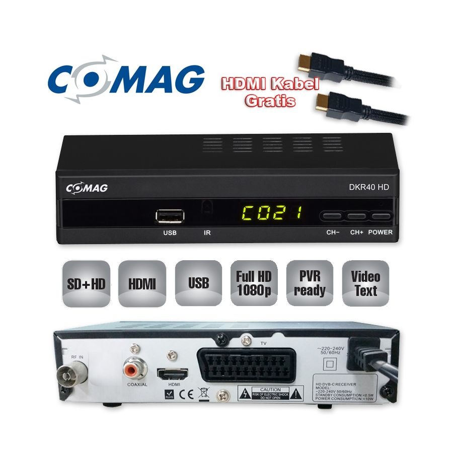 kabel receiver comag dkr40 hd hdtv dvb c dvb c2 usb cable hdmi kabel. Black Bedroom Furniture Sets. Home Design Ideas