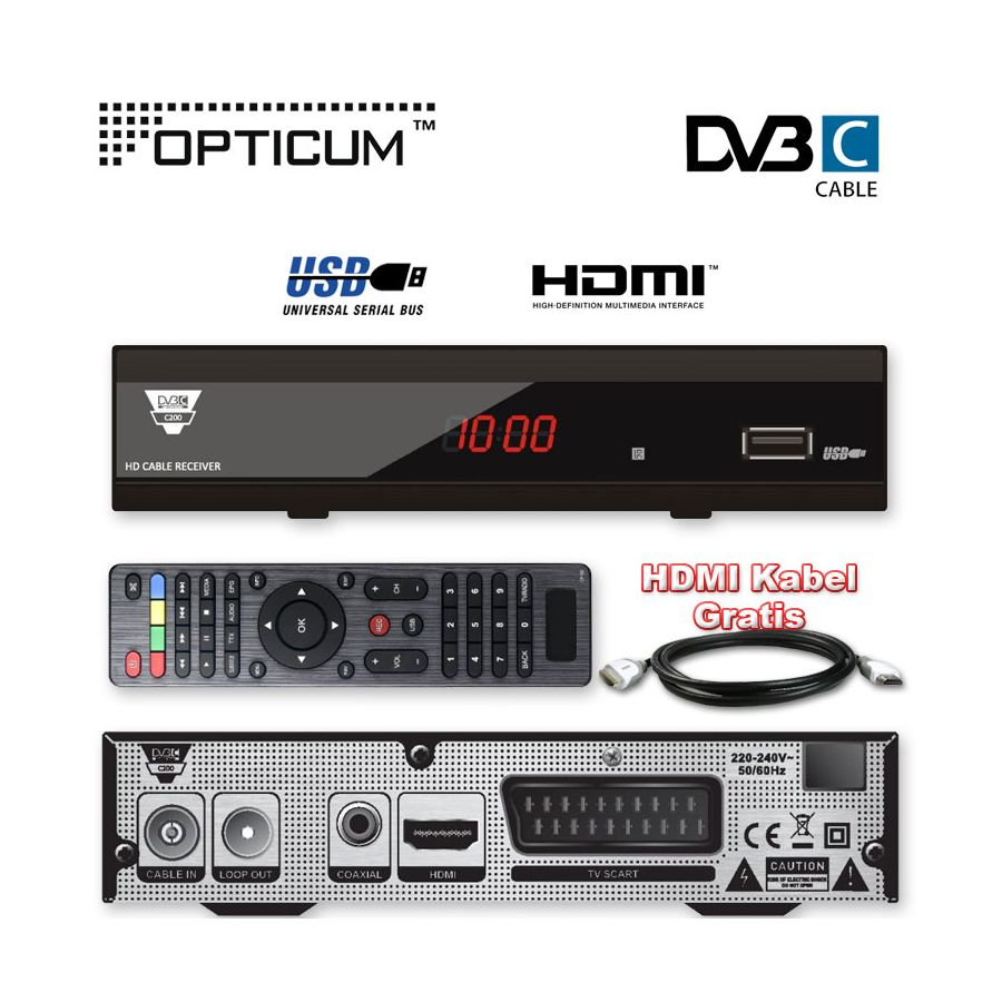 hdtv kabel receiver hd kabel receiver opticum c200 usb tv. Black Bedroom Furniture Sets. Home Design Ideas