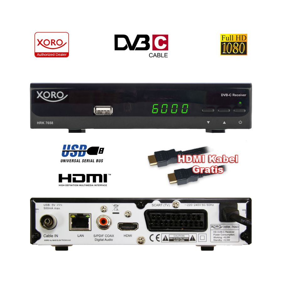 digital hd kabel receiver xoro hrk 7658 usb lan hdmi scart epg dvb c tv empf nger. Black Bedroom Furniture Sets. Home Design Ideas