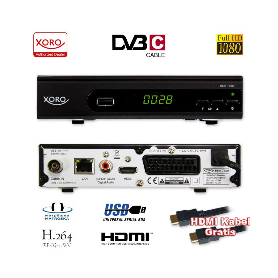 hd kabel receiver xoro digital hrk 7660 dvb c usb tv. Black Bedroom Furniture Sets. Home Design Ideas