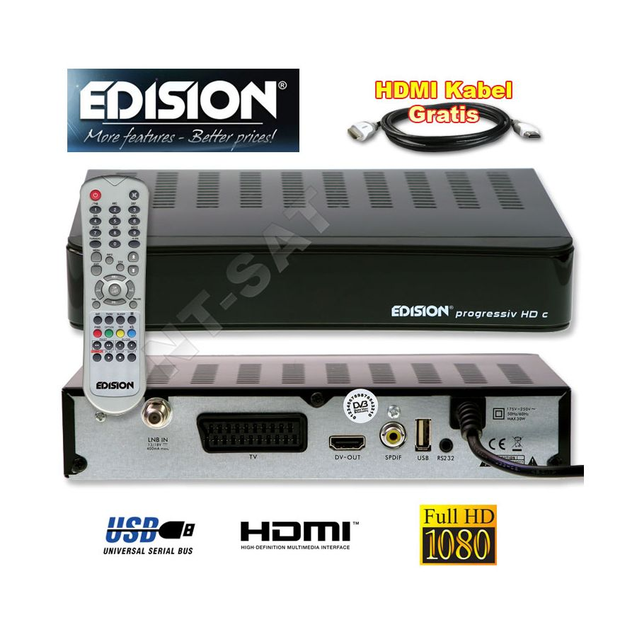 edision progressiv hd compact dvb s 2 sat receiver hdmi kabel usb. Black Bedroom Furniture Sets. Home Design Ideas