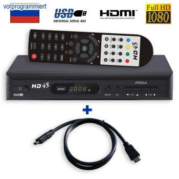Sat Receiver Fur Russische TV vorprogrammiert ORT 1 HD45 x820 / HDMI Kabel MPG4