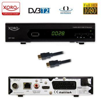 Xoro 7620 KIT DVBT/T2 Receiver (HDTV, SCART, Mediaplayer HAN 100 DVB-T2 Antenne und HDMI Kabel