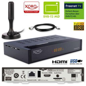 HD DVB-T2 Receiver Xoro HRT 8730 HEVC H.265 USB HDTV DVB-T 2 PVR + Antenne