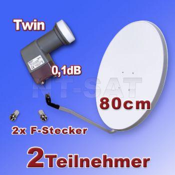 Digital SAT Spiegel 80cm und Palcom Twin LNB 0,1dB