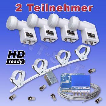Komplettanlage 4x Twin LNB 0,1dB, 2x DiSEqC 4/1, Multifeed, 20m Kabel
