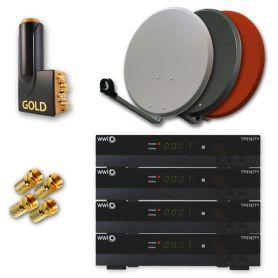 multi set satelliten anlage mit 4 hdtv receiver wwio trinity. Black Bedroom Furniture Sets. Home Design Ideas
