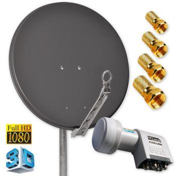 Digitale HD SAT Antenne DUR-line 75 Anthrazit + Quad LNB 4 Teilnehmer