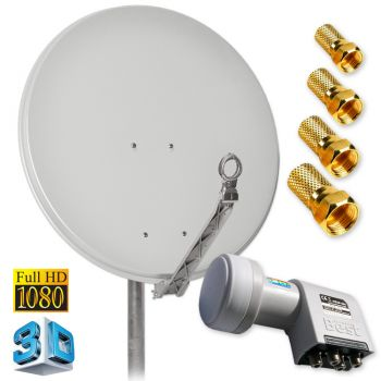Digitale FullHD SAT Antenne DUR-line 75 Grau + Quad LNB 4 Teilnehmer
