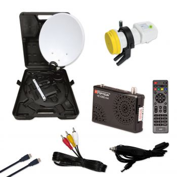 Camping Koffer Set Full HD Easyfind Opticum HD X300 Receiver 12 /220 Volt
