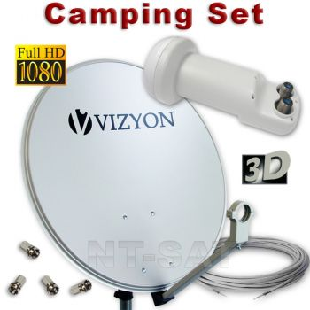 Sat Camping Spiegel 40cm Twin LNB + Koaxkabel - FULL HDTV