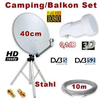 Camping/Balkon Sat Anlage 40cm Single LNB Kabel Dreibein Stativ Full HD 3D
