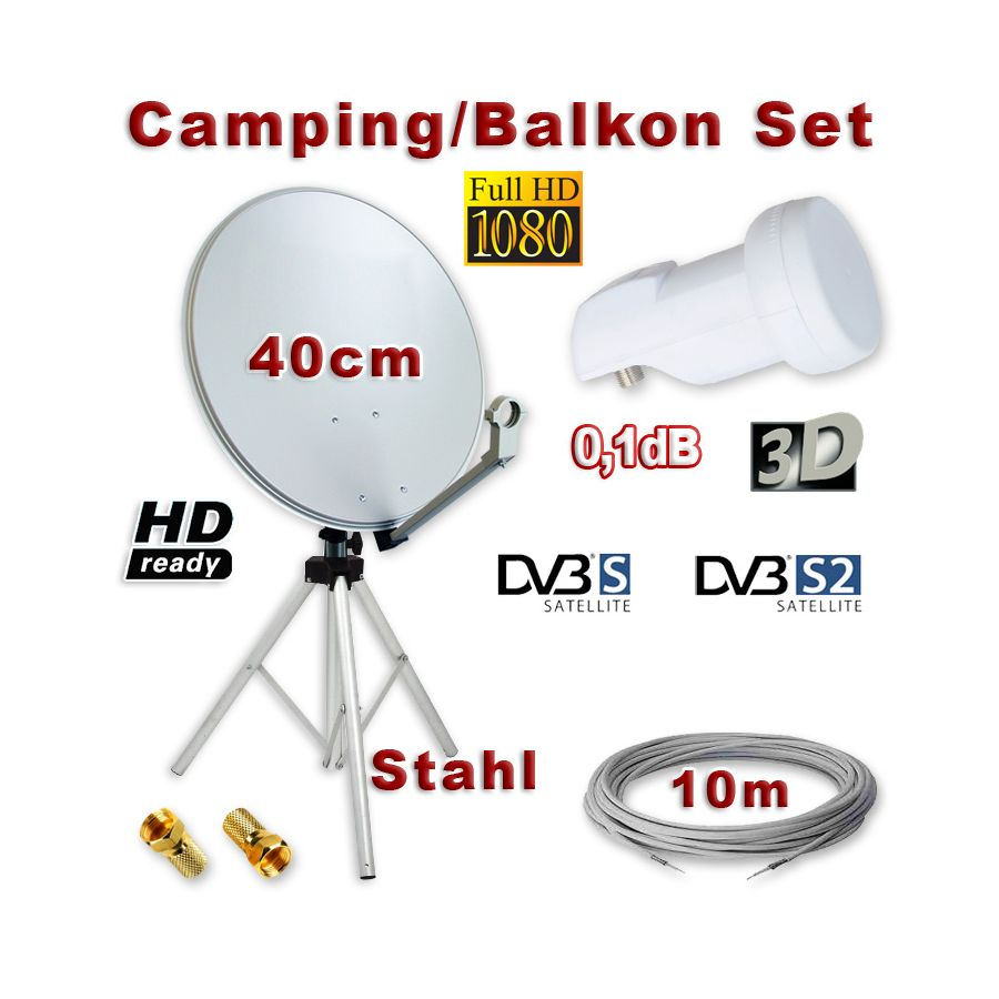 camping balkon sat anlage 40cm single lnb kabel dreibein. Black Bedroom Furniture Sets. Home Design Ideas