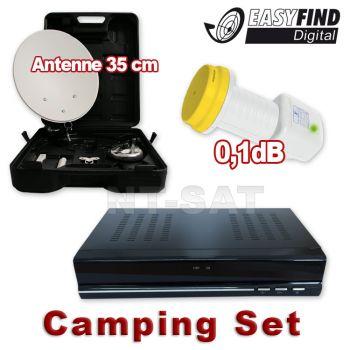 Camping SAT Anlage Koffer SAT Receiver 12 Volt Easyfind LNB
