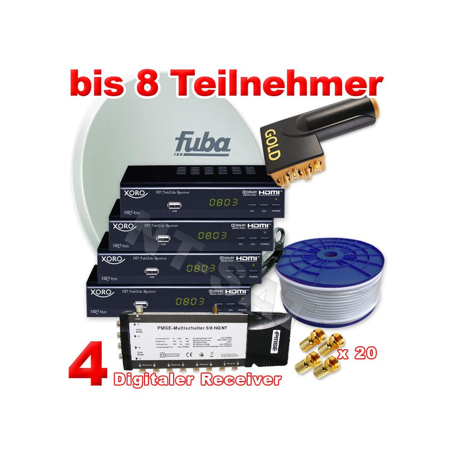 8 teilnehmer inkl 4 digital hd receiver xoro 8525 fuba. Black Bedroom Furniture Sets. Home Design Ideas