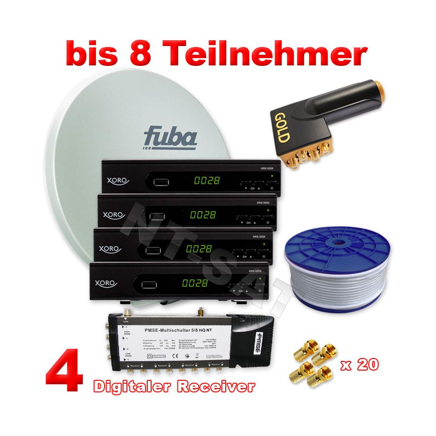 sat anlage 8 teilnehmer inkl 4 digital hd receiver. Black Bedroom Furniture Sets. Home Design Ideas