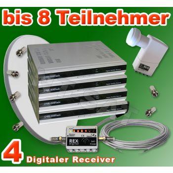 Dig. Sat Anlage 8 Teilnehmer inkl. 4 Digital Receiver