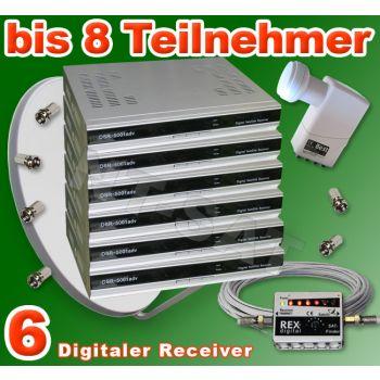 Dig. Sat Anlage 8 Teilnehmer inkl. 6 Digital Receiver