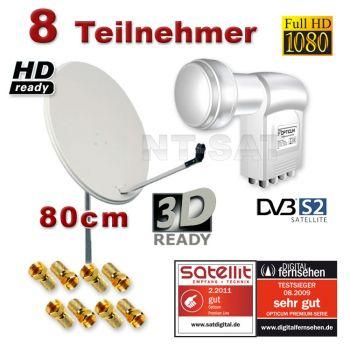 HD SAT ANLAGE Spiegel Antenne Schüssel 80 + Octo 8 Teilnehmer LNB 0,1 Bis 8 Receiver