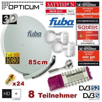 SAT Anlage 8 Teilnehmer 2 Sat FUBA DAA850 Grau Multischalter 9/8 LNB FULL HDTV 3D