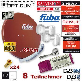 SAT Anlage 8 Teilnehmer 2 Sat FUBA DAA850 Rot Multischalter 9/8 LNB FULL HDTV 3D