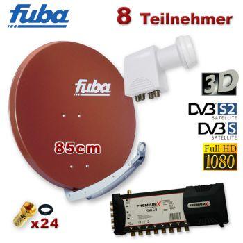 Fuba 85 cm Spiegel Rot Schüssel ALU DIGITAL Multischalter 5/8 Quattro LNB SAT Anlage
