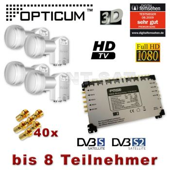 Multischalter 17/8 + 4x Opticum lnb Quattro LNB Full HD 3D 17/8