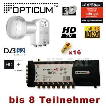 Sat Multischalter PremiumX PXMS-5/8 + Quattro LNB FULL HDTV 3D HD