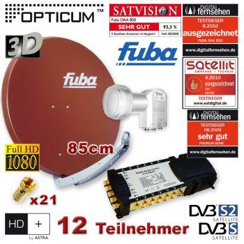 Sat Anlage FUBA 85 Rot Digital SAT 12 Teilnehmer + Multischalter LNB FULL HDTV 3D HD+