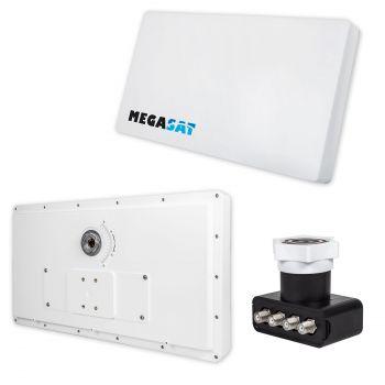 SAT Flachantenne Quad mit Fensterhalterung Megasat H30 D4 Sat Anlage